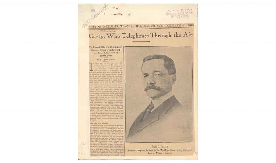 Carty, Who Telephones Through the Air. October 2, 1915.