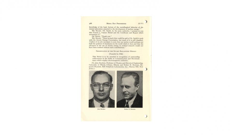 """""""Medal Day Proceedings;"""" an article reprinted from The Journal of The Franklin Institute, Vol. 254, No. 6, December, 1952"""