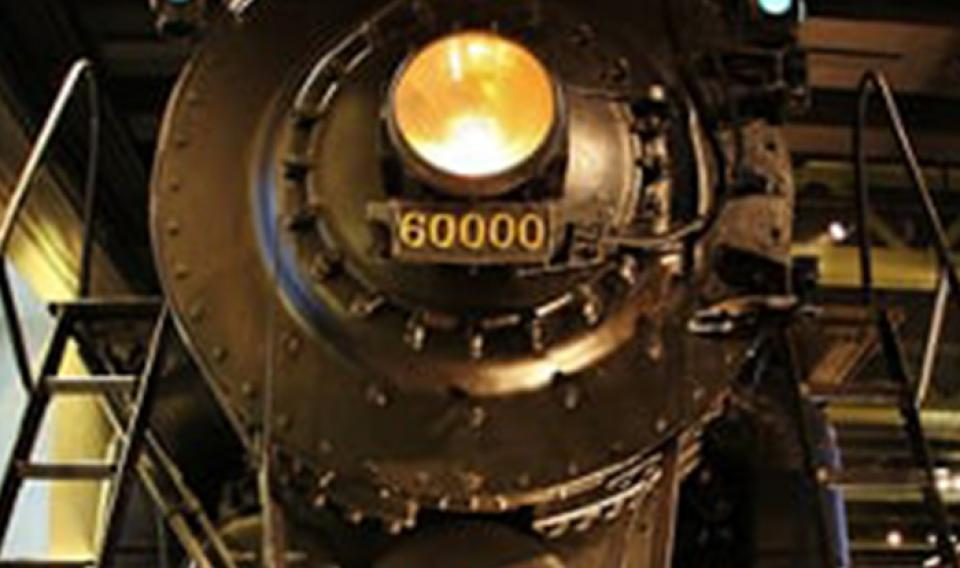 Image of the direct front of the Baldwin locomotive train in Train Factory exhibit