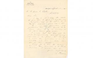 Nikola Tesla Letter, to William H. Wahl, Acknowledging receipt of The Franklin Institute Committee on Science and the Arts report and expressing appreciation for the Cresson award, 4/10/1894